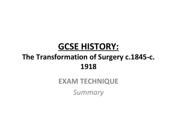 Preview of Surgery - Revision - Exam Technique Summary