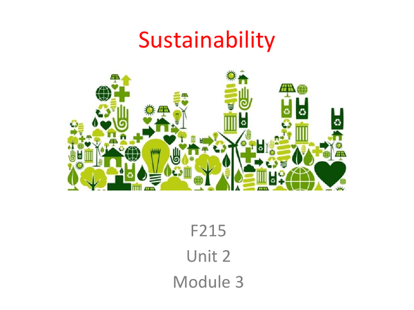 Preview of Sustainability Unit 2 Module 3 Revision