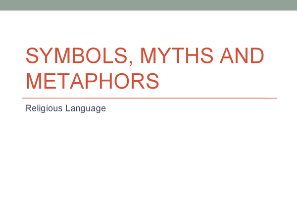 Preview of Symbols, Myths and Metaphors