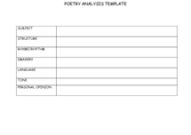 Preview of table for analysing poetry