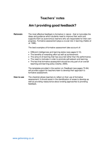 Preview of Teachers' notes - Good feedback