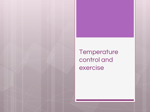 Preview of Temperature control and exercise