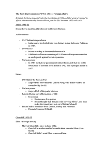 Preview of The Post-War Consensus - Foreign policy (AQA complete notes 3/16)