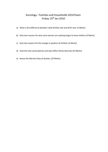 Preview of THE 2010 SOCIOLOGY EXAM - FRIDAY 15TH JAN 2010 - FAMILY AND HOUSEHOLD QUESTIONS