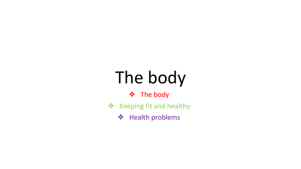 Preview of The body and health