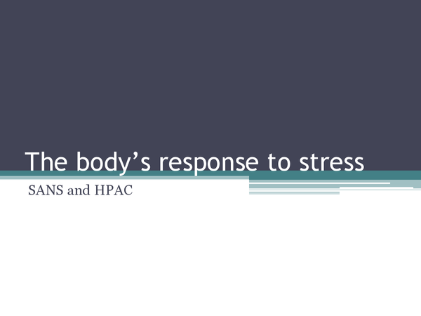 Preview of The body's response to stress