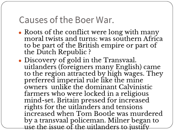 Preview of The Boer War- summary