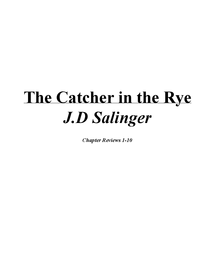 Preview of The Catcher in the Rye - Chapter Reviews 1-10