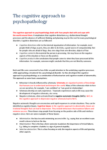 Preview of The Cognitive Approach to Psychopathology