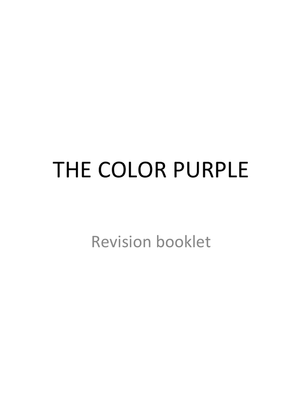 Preview of The color purple - anaylsis pack