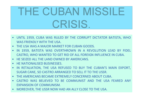 Preview of THE CUBAN MISSILE CRISIS.