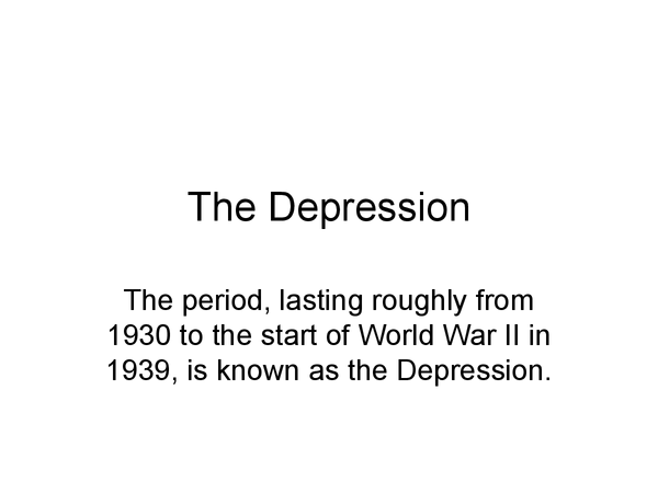 Preview of The Depression