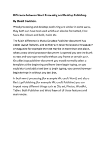 Preview of The Difference between Word and Publisher.