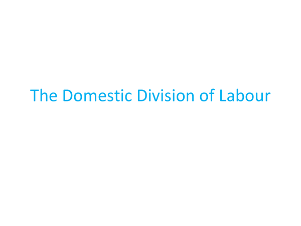 Preview of The domestic division of labour