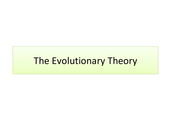 Preview of The Evolutionary Theory