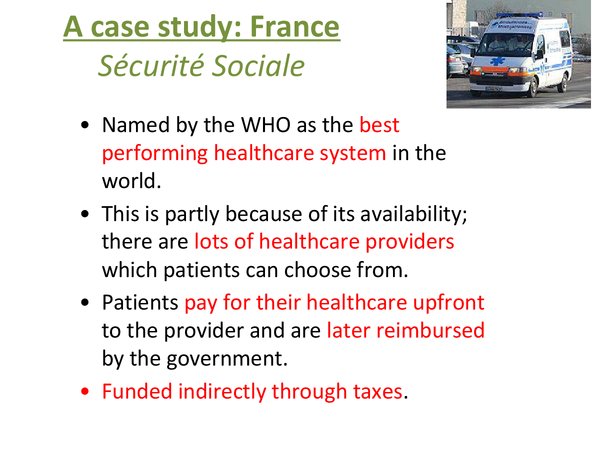 Preview of The French healthcare system - health - AQA AS Geography