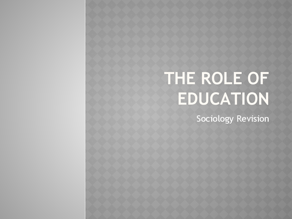 Preview of The functionalist view on the role of education