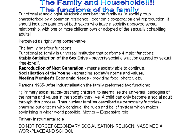 Preview of The functions of the family in accordance to wider society