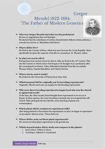 Preview of The Histroy of Genetics: Gregor Mendel-The Father of Genetics