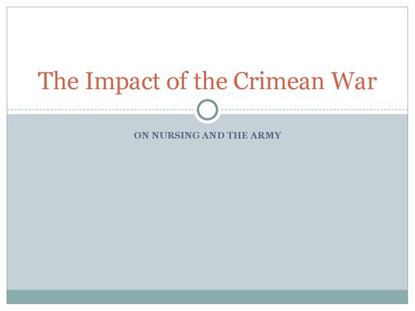 Preview of The Impact of the Crimean War