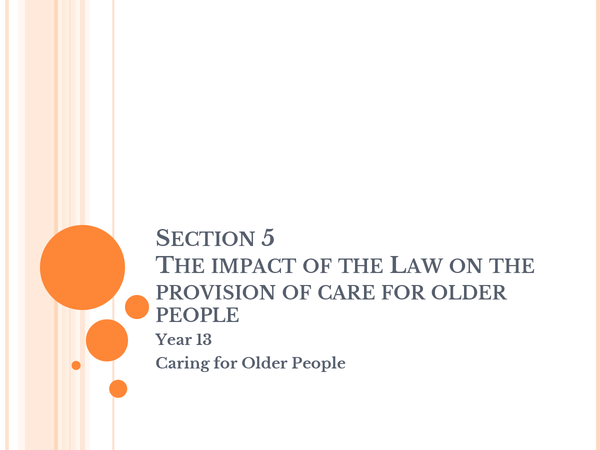 Preview of The impact of the Law on the provision of care for older people