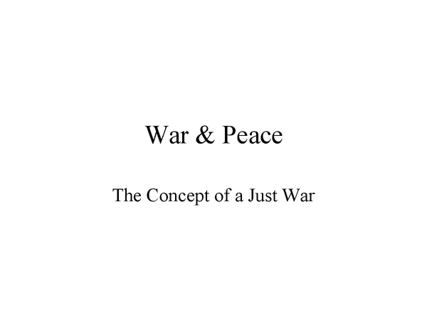 Preview of The Just War Theory