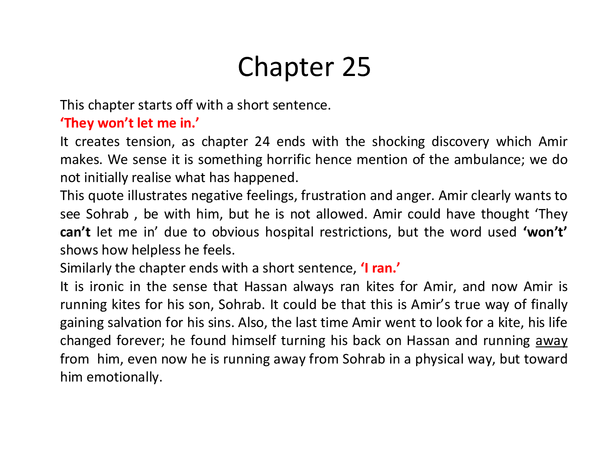 Preview of The Kite Runner- Chapter 25