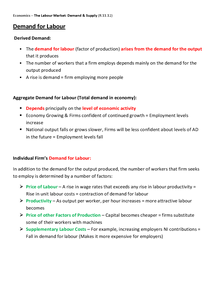 Preview of The Labour Market: Demand & Supply - Unit 3 (AQA)
