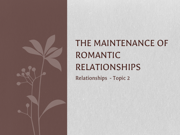 Preview of The Maintenance Of Relationships