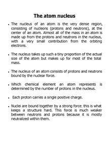 Preview of the nucleus of an atom