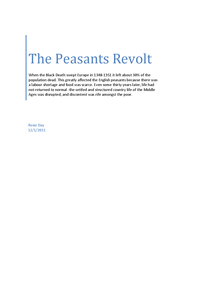 Preview of The Peasants Revolt - England AS Level History