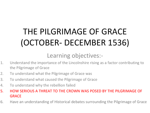 Preview of THE PILGRIMAGE OF GRACE