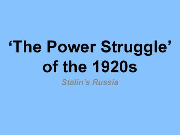 Preview of The Power Struggle of the 1920s