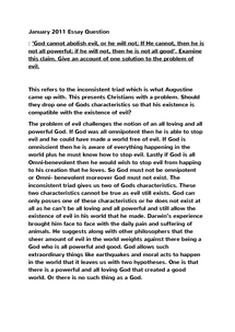 Preview of The Problem of Evil and Suffering January 2011 essay