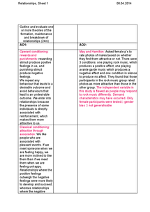 Preview of The Reinforcement Affect Theory A2 Psychology AQA A Essay Plan / Notes
