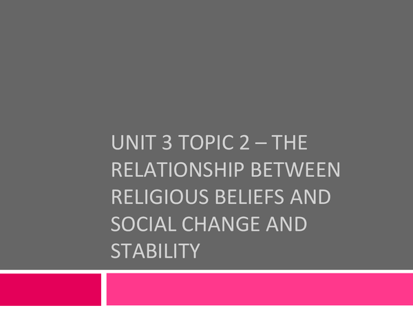 Preview of The relationship between religious beliefs and social change and stability