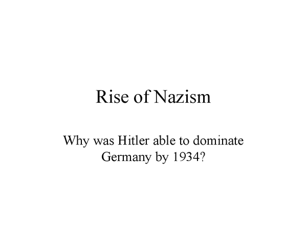 Preview of The Rise of Nazism