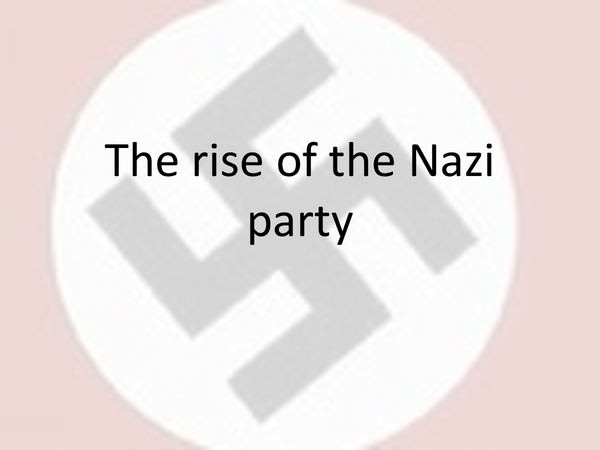 Preview of The Rise of the Nazi Party