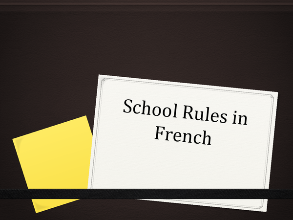 Preview of The School Rules in French