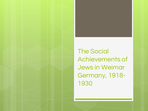 Preview of The Social Achievements of Jews in Weimar Germany