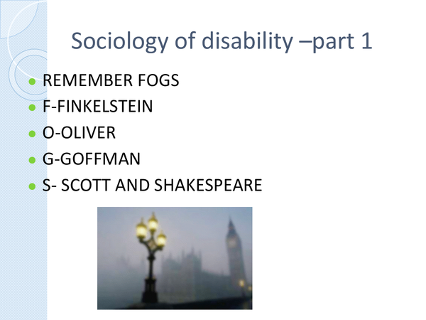 Preview of the sociology of disability