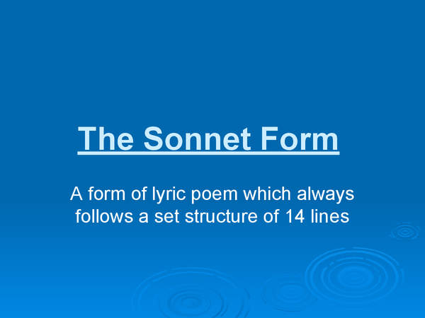 Preview of The Sonnet Form