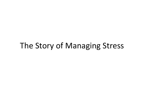 Preview of The Story of Managing Stress