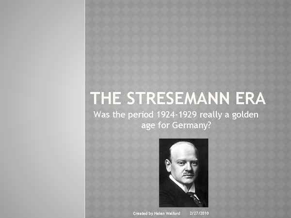 Preview of The Stresemann Era