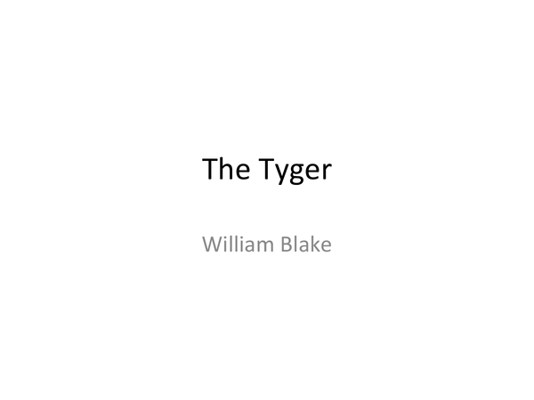 Preview of The Tyger William Blake