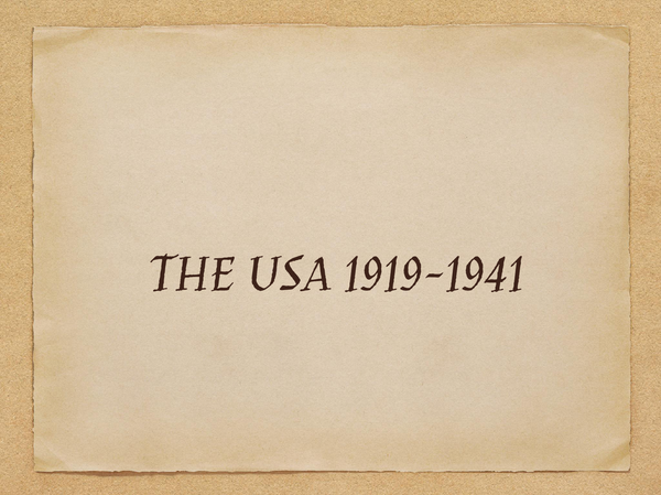 Preview of THE USA 1919-1941