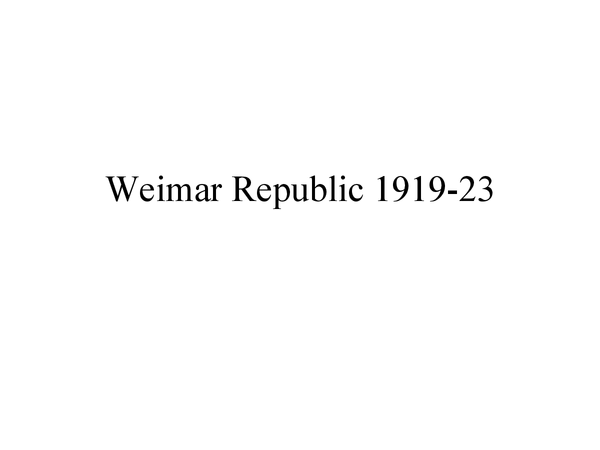Preview of The Weimar Government 1919-29