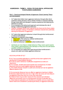 Preview of Theme A aggression for AQA PSYA3
