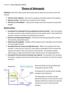 Preview of Theory of Monopoly - Unit 3 (AQA)