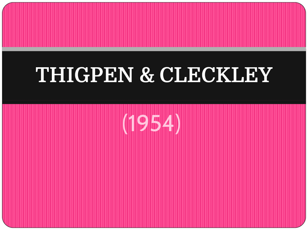 Preview of Thigpen & Cleckley (1954) - AS Core Study